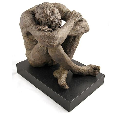 Bronze cast No 2 / 12 of Richard sitting with head resting on knees